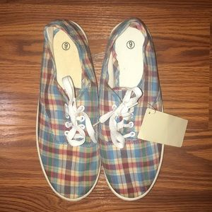 Shoes - New Blue Plaid Sneakers